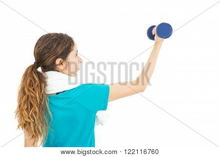 Fitness woman training her arms with dumbbells. Isoalted on white background.