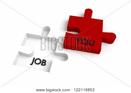Missing puzzle piece, a job for you, red and white, jigsaw on a white background