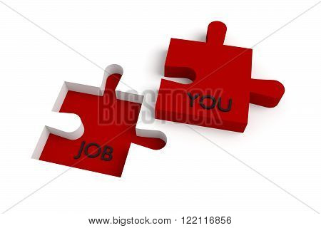 Missing puzzle piece, a job for you, red, jigsaw on a white background
