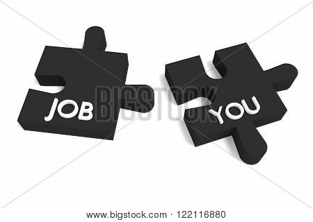 Black Puzzle, a job for you, jigsaw on a white background