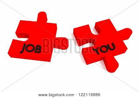 Red Puzzle, a job for you, jigsaw on a white background