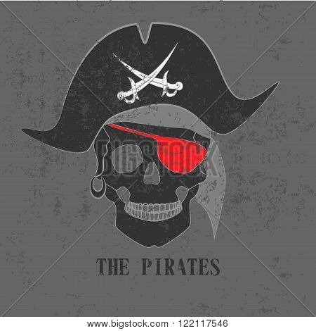 The skull of pirate with red eye patch