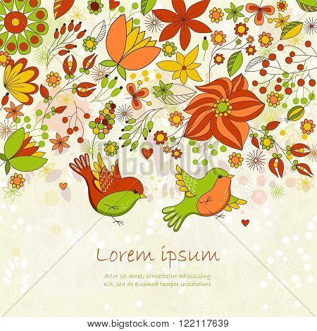 Vector card with flowers and birds. Cute colorful floral background. Romantic card. Perfect for greetings, invitations, announcement, wedding design.