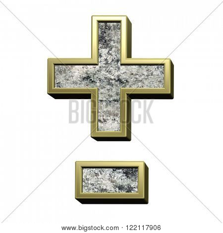 Hyphen, minus, plus marks from granite with gold frame alphabet set isolated over white. Computer generated 3D photo rendering.