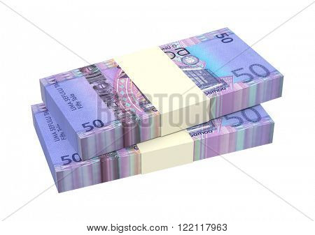 Samoan tala bills isolated on white background. Computer generated 3D photo rendering.
