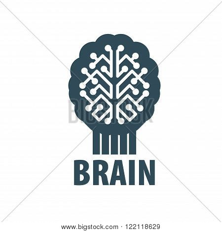 Illustration of the brain. Pattern abstract vector logo