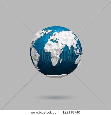 Vector polygonal globe icon.