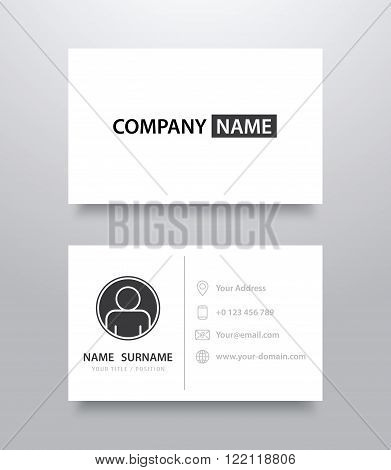 Business card mockup template with shadow. Vector illustration