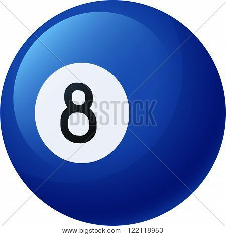 Vector illustration. Blue billiard ball number eight isolated on a white background