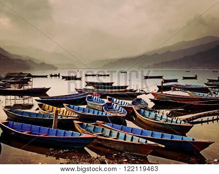 view of the Fewa lake in Pokhara ** Note: Visible grain at 100%, best at smaller sizes