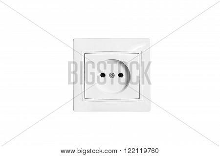 Single white electric socket on white background