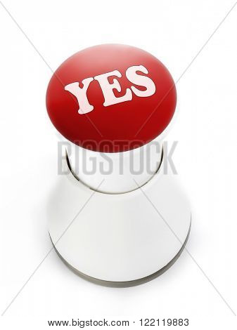 Red push button with Yes inscription