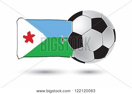 Soccer Ball And Djibouti Flag With Colored Hand Drawn Lines