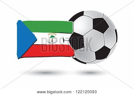 Soccer Ball And Equatorial Guinea Flag With Colored Hand Drawn Lines