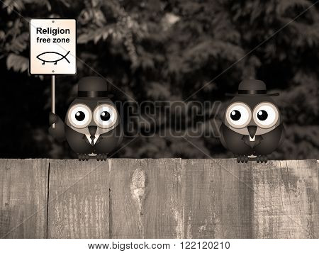 Sepia comical religion free zone sign with bird vicar perched on a timber garden fence against a foliage background