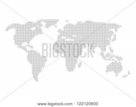 World map grid - tiled by small squares with black outline and white fill on white background.