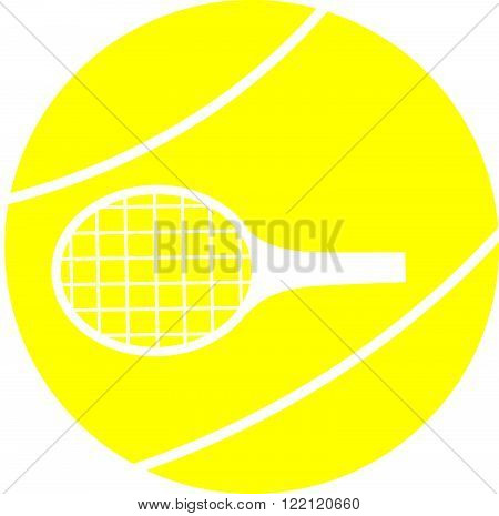 Tennis ball and racket on a white background