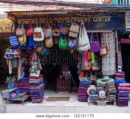 The Shop Sell Traditional Nepalese Handicrafts Goods For Tourists In Kathmandu