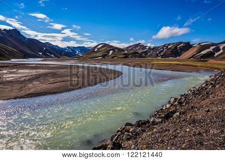 Valley in the national park Landmannalaugar, Iceland. Summer floods blocked the way to the tourist camping