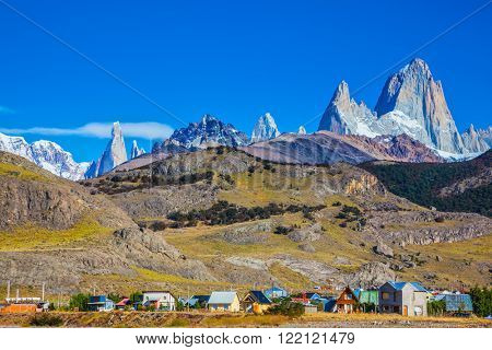 Incredible Patagonia. The town of El Chalten at the foot of fantastic rocks Fitz Roy