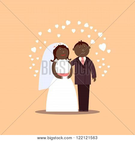 African American couple getting married. Bride and Groom cartoon vector figures with hearts for love  illustration. Classic wedding cartoon characters. Traditional bride groom cartoon. Wedding couple
