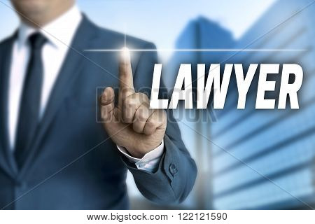 lawyer touchscreen is operated by businessman background