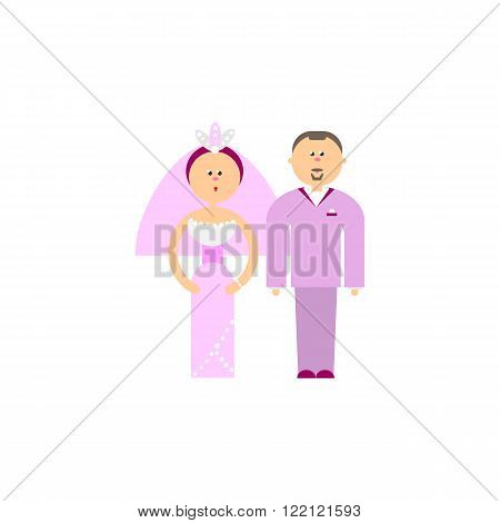 Bride and Groom flat vector figures illustration. Classic wedding in trend rose quartz color suits. Traditional bride, groom cartoon. Couple getting married for invites, cakes and  wedding design.