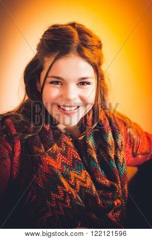 Cute fun and stylish caucasian tween girl smiling