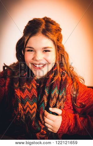Cute fun and stylish caucasian tween girl laughing