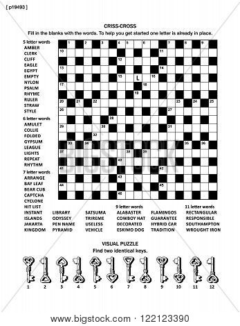 Puzzle page with two puzzles: big 19x19 criss-cross word game (English language) and small visual puzzle with whimsical arrows.  Black and white, A4 or letter sized.