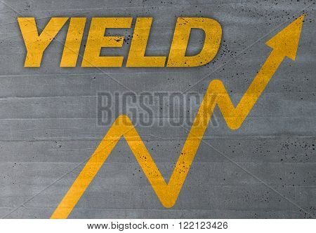 yield graph concept on cement texture background