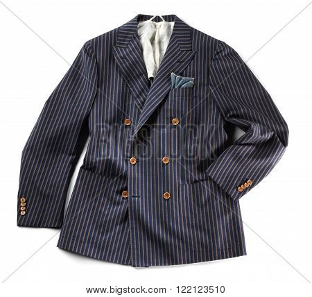 Single striped jacket with pinstripes over isolated white background