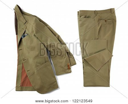 Matching brown formal suit jacket with handkerchief in pocket and pants folded neatly over isolated white background