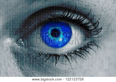 futuristic eye with matrix texture looking at viewer.
