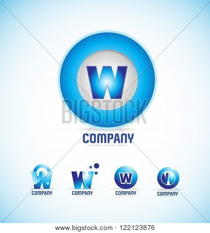 Vector company logo icon element template alphabet letter w circle sphere set blue games media corporate business