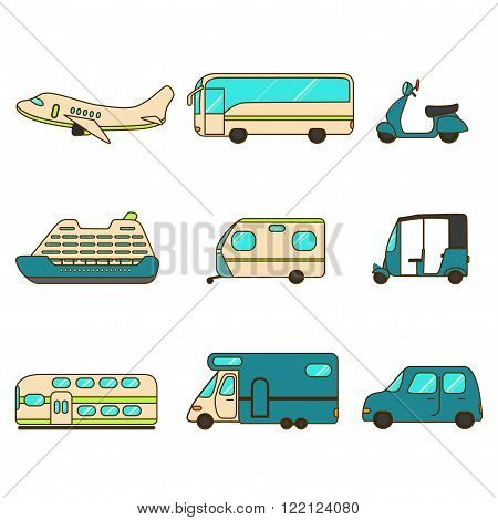 Transportation collection with airplane, bus, scooter, liner, trailer,  tuk-tuk, express train, caravan and car.