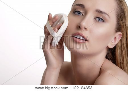 Beautiful Model Applying Powder On Her Face