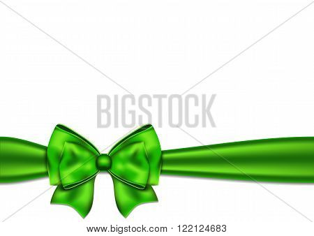 Green silky bow on a white background. Vector illustration.