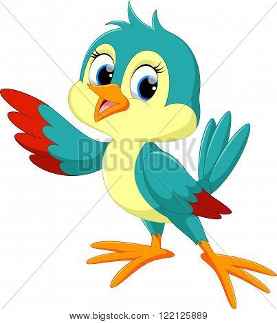 Vector illustration of Cute bird cartoon  isolated on white background