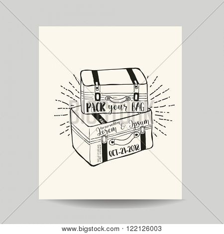 Wedding Invitation Card - Save the Date - Baggage and Suitcase Theme - in vector