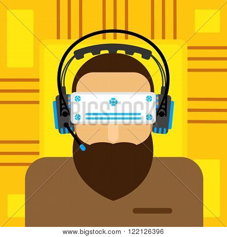 A virtual reality. virtual reality glasses to a man with a beard. Vector illustration of a flat.