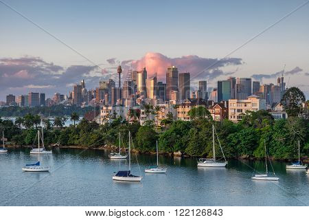 Sydney central business district from Mosman Bay