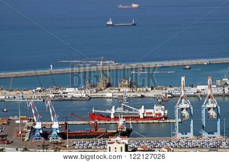HAIFA ISRAEL - MARCH 01 2016: Top view of the port of Haifa and ships in the harbor