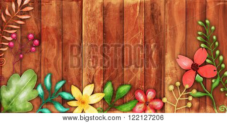 A digitally created wooden panel background texture with hand painted watercolour plants and flowers.