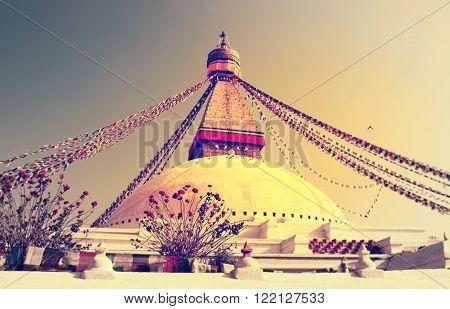 Buddhist Boudhanath Stupa In Kathmandu, Nepal . Instagram Toning Effect.