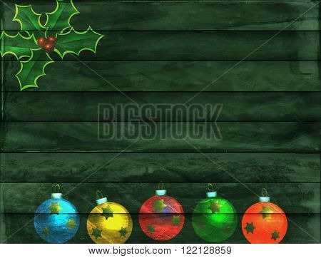 A digitally created green wooden panel background texture with Christmas baubles and holly decoration.