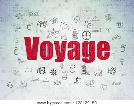 Vacation concept: Voyage on Digital Paper background