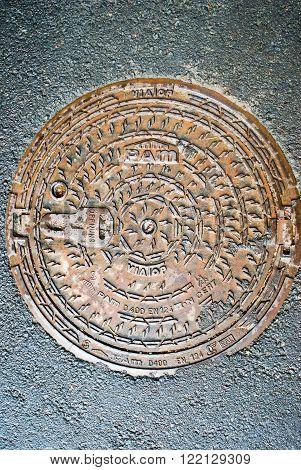 Old manhole. Kaliningrad. Russia