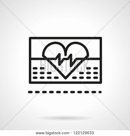 Cardiology icon black line vector icon