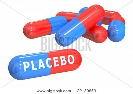 placebo concept with capsules isolated on white background